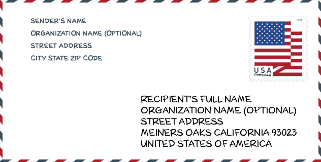 City Meiners Oaks Ca 93023 United States Zip Code