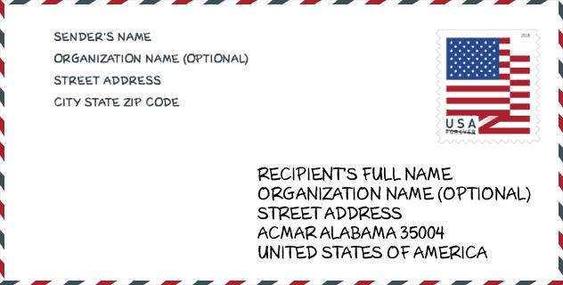 حالة Al Alabama الولايات المتحدة الرمز البريدي