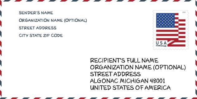 حالة Mi Michigan الولايات المتحدة الرمز البريدي